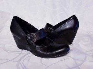 Lederpumps mit Keilabsatz, schwarz Casual-Look