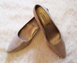 5th Avenue Tacones color oro Cuero