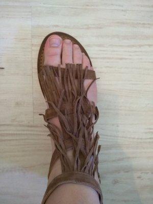 Lederriemchen Sandalen mit Fransen von Hallhuber