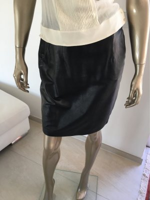 Hallhuber Leather Skirt black leather