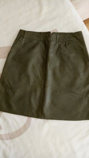 Leather Skirt olive green-khaki leather