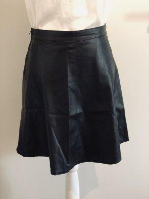 Fishbone Falda de cuero de imitación negro