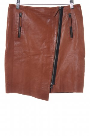 Gonna in pelle cognac stile country