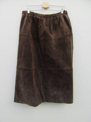 Vintage Falda de cuero marrón