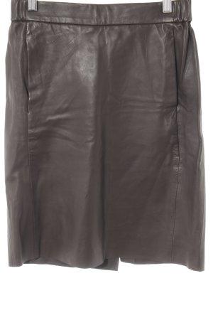 Leather Skirt dark brown casual look