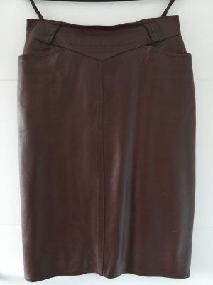 High Waist Skirt dark brown leather