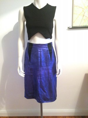 Lederrock high-waist Gr.38 true Vintage dunkelblau schwarz Bleistiftrock Leder