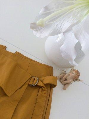Falda asimétrica naranja oscuro Imitación de cuero
