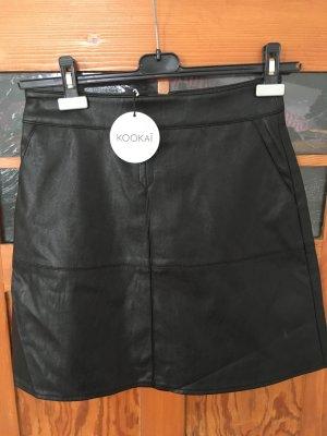 Kookai Falda de cuero negro