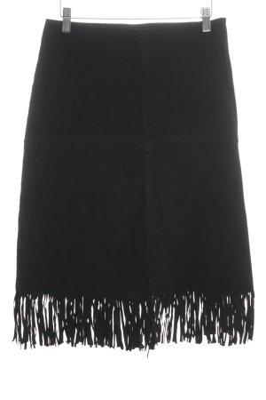 Falda de cuero negro estilo hippie