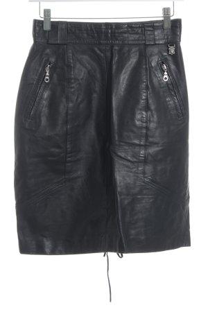 Leather Skirt black brown biker look