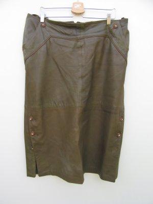 Vintage Falda de cuero verde oscuro