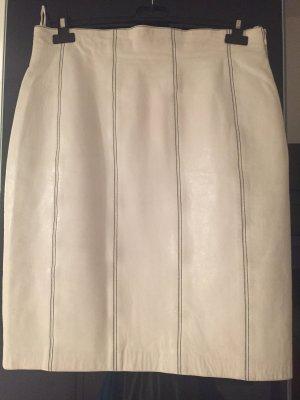 Escada Leather Skirt natural white-dark blue