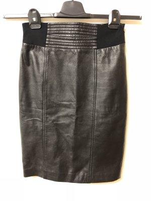 Hallhuber Falda de cuero negro