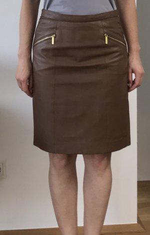 Michael Kors Falda de cuero coñac