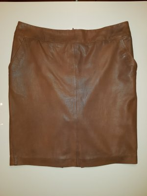 Set Leather Skirt cognac-coloured leather