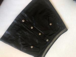 The Kooples Leren rok zwart-zilver