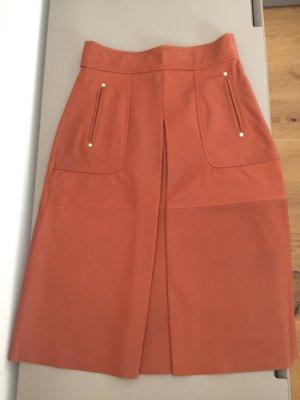 Zara Falda de cuero naranja oscuro