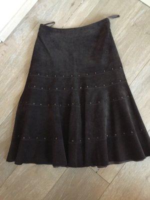 Falda de cuero marrón oscuro Cuero
