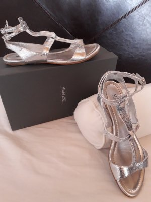 Madeleine Strapped High-Heeled Sandals silver-colored