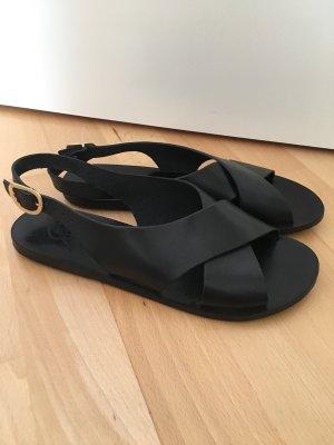 Ancient greek sandals Sandales noir-doré