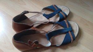 Rieker Sandals petrol-cognac-coloured leather