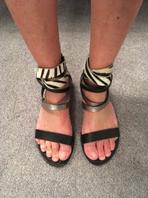 Pieces Sandals multicolored leather