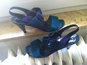 Strapped High-Heeled Sandals dark violet-steel blue leather