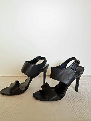Ledersandaletten in schwarz