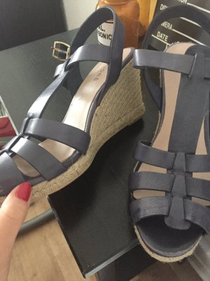 andrée Wedge Sandals steel blue leather