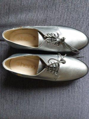 Richelieu argenté-gris cuir