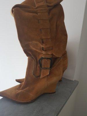 100% Fashion Heel Boots cognac-coloured