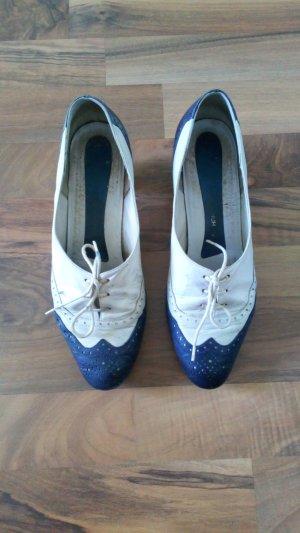 Vintage Mary Jane pumps wit-blauw