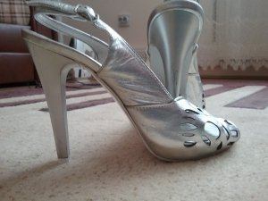 Lederschuhe in Silber