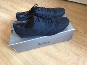 Gabor Zapatos estilo Oxford azul oscuro Cuero