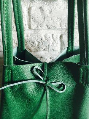 Ledershopper Leder Vera Pelle Handtasche grün Kalbsleder neu