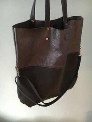 Ledershopper Ledertasche metallic/grau Shopper Handtasche außergewöhnlich NEU NEU