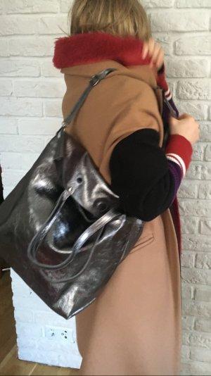 Ledershopper Ledertasche metallic silber Shopper Handtasche außergewöhnlich NEU NEU
