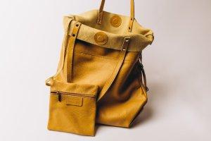 Ledershopper Ledertasche Senf Shopper Handtasche außergewöhnlich