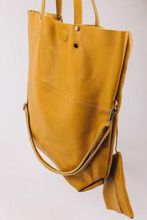 Ledershopper Ledertasche Umhängtasche Senf Shopper Handtasche außergewöhnlich