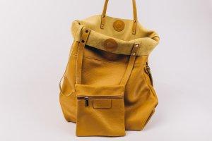 Vera Pelle Pouch Bag dark yellow leather