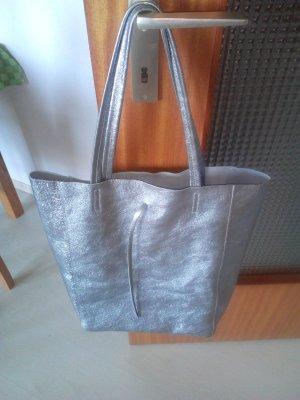 Shopper silver-colored leather