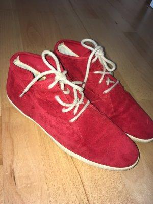 Ledersneaker rot/beige