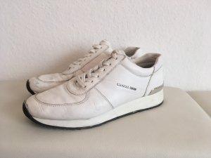 Ledersneakers Weiß Silber