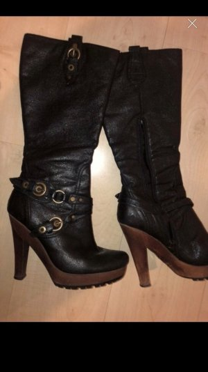 Platform Boots black-black brown leather