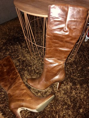 Lederstiefel Buffalo Stiefel schmaler Schaft Cognac Gr. 37 Stiefelette High Heels