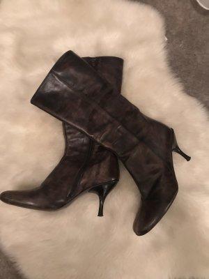 Laarzen met hak donkerbruin-zwart