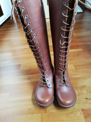 Art Lace-up Boots light brown-bronze-colored leather