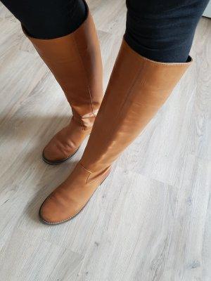 Hoge laarzen cognac-donker oranje Leer