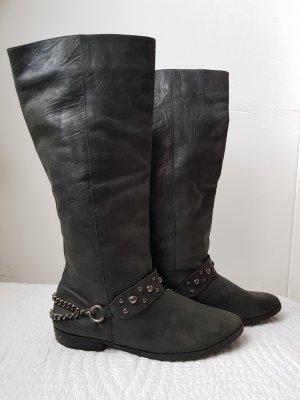 Lederstiefel in schwarz